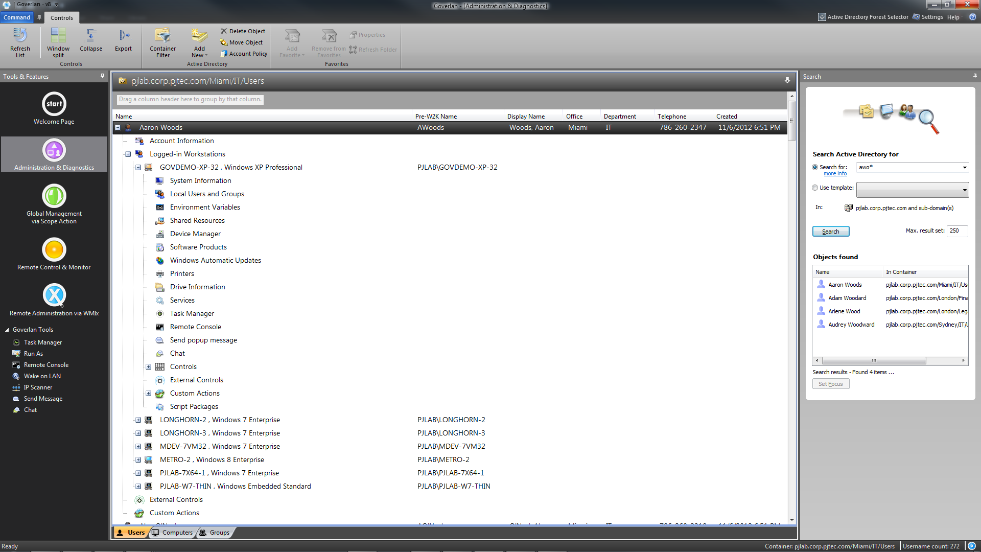 Goverlan Administration & Diagnostics Main Screen
