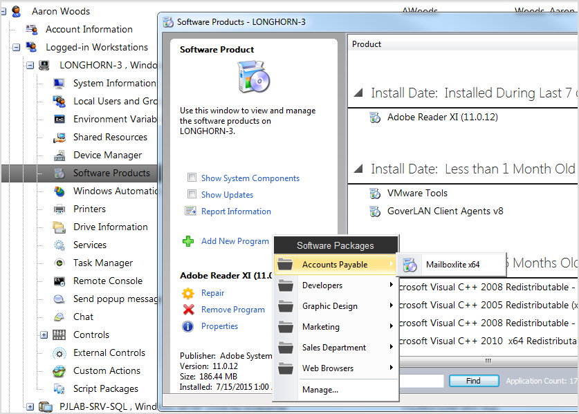 Goverlan organized software deployment