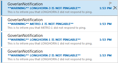 Waring message for ping monitor