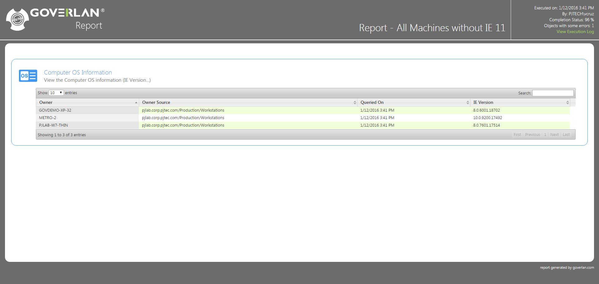 IE version report