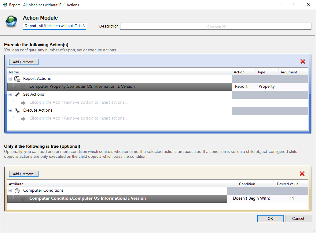 Goverlan Scope Actions IE 11 version report