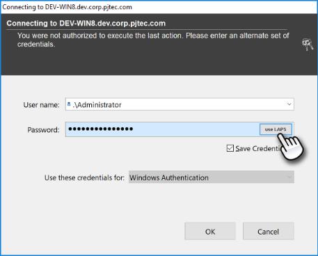 Use Microsoft LAPS Button