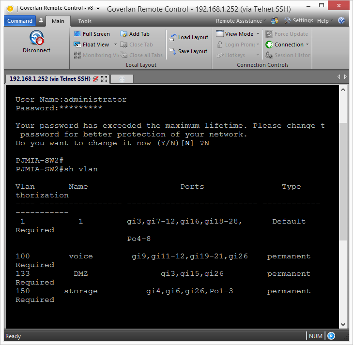 Goverlan Remote Control Telnet SSH Options