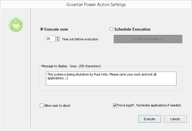 Goverlan Remote Control Power Options