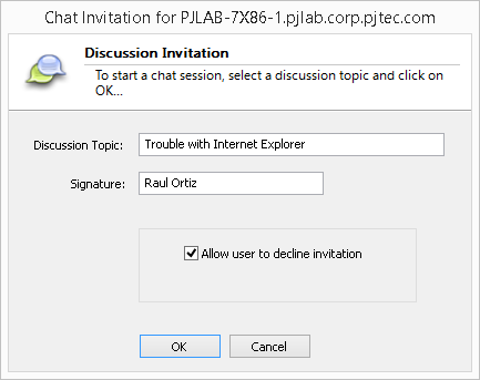 Goverlan Remote Control Chat Options