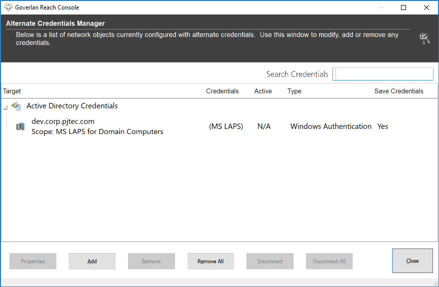 Credential Manager with Microsoft LAPS