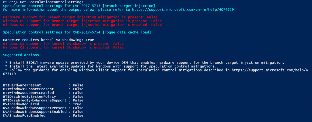 PowerShell Speculation Control Console Output