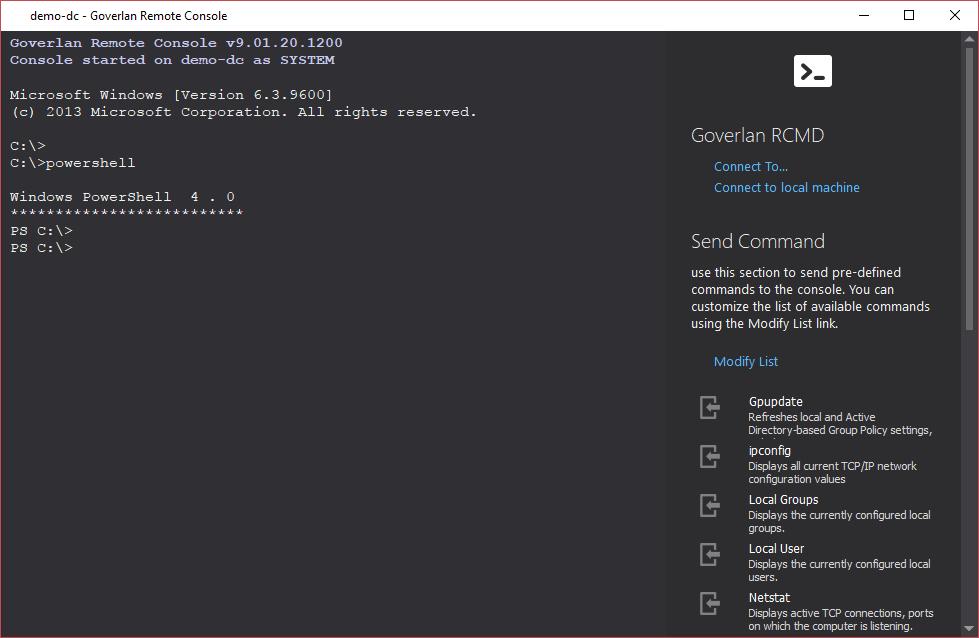 Remote Control Tool: Goverlan Remote CMD