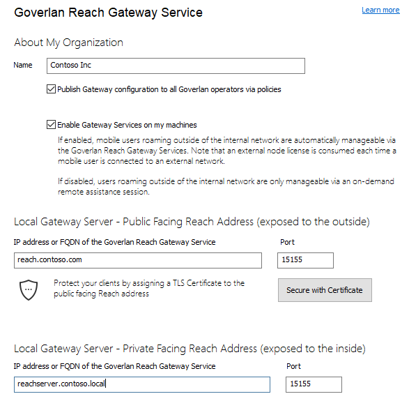 Goverlan Reach Gateway and SSL/TLS certificates