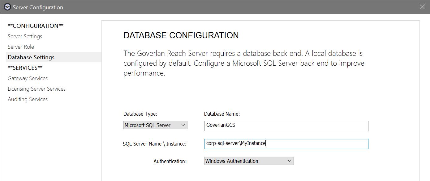 Server Database Configuration