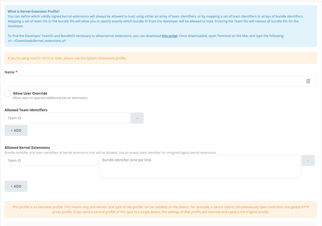 Mac Kernel Extension Profile