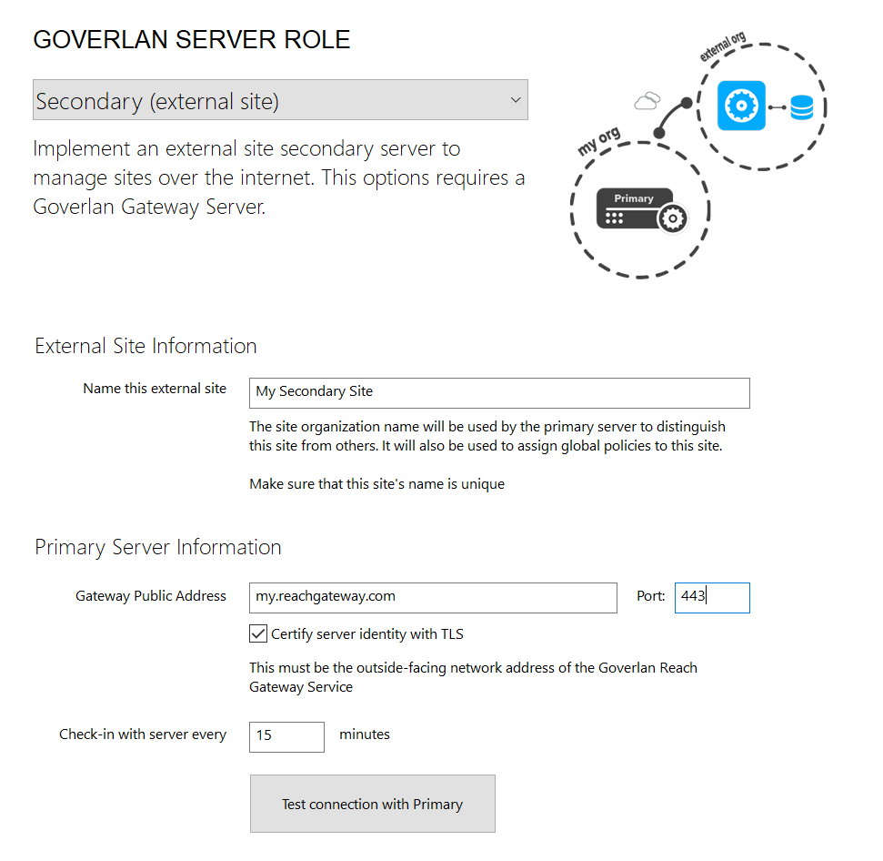 Goverlan Reach External Site Server