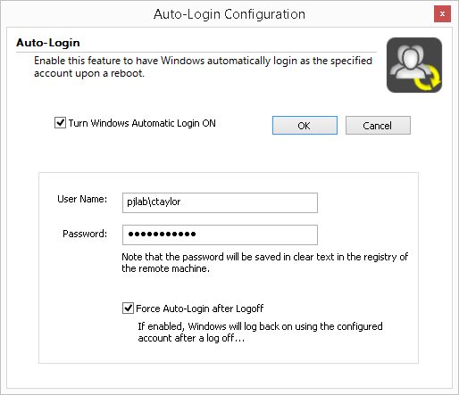 Goverlan Remote Control Auto Login Settings