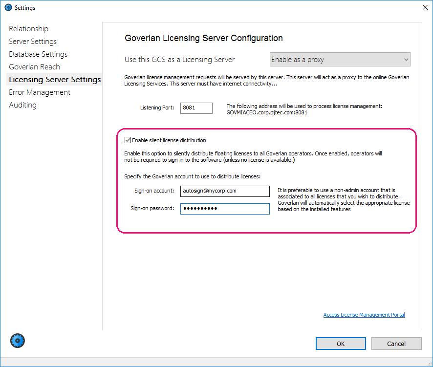 Onsite GLS – Proxy - Goverlan License Distribution Services