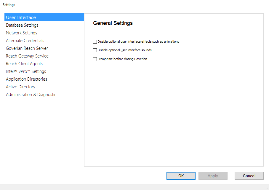 Goverlan Operator Console - General Settings